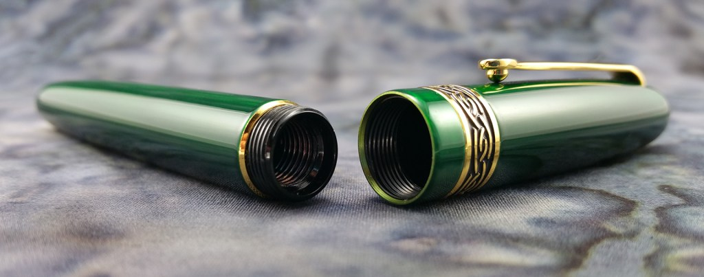 Italix Parson's Essential Fountain Pen Barrel and Cap, showing the interior threads and cap sleeve