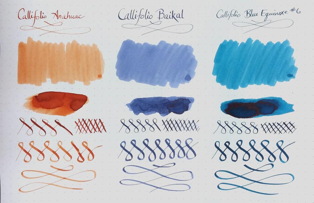 Sample of Callifolio inks: Anahuac, Baikal, Bleu Equinoxe #6