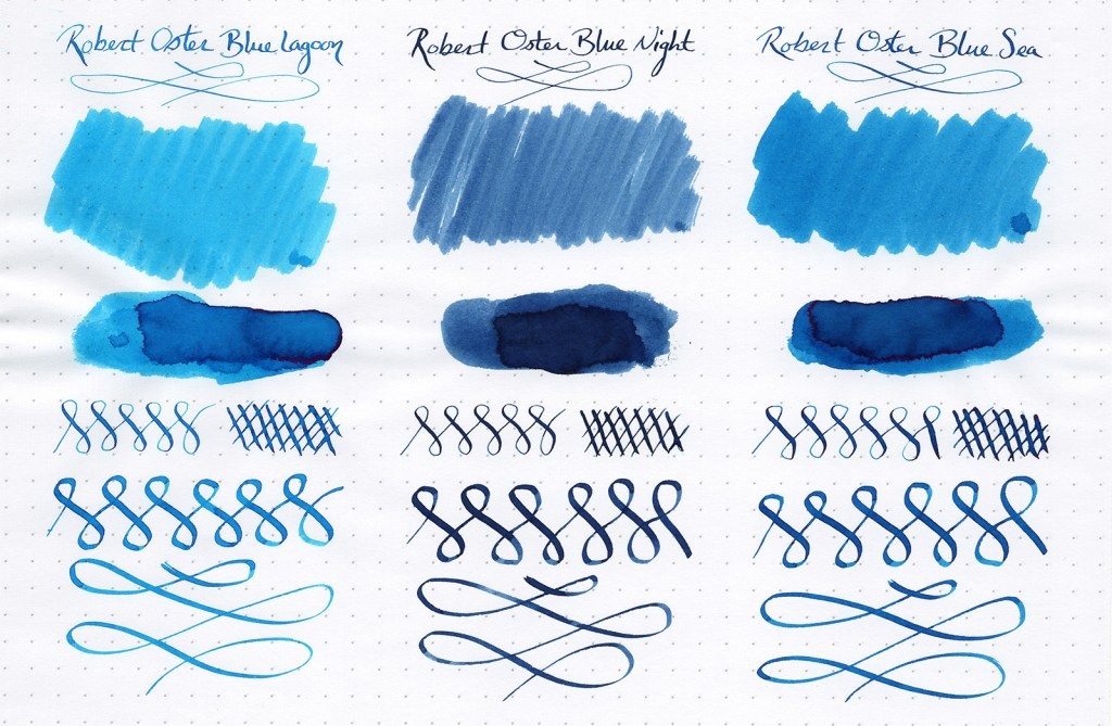 Ink samples, scanned, of three Robert Oster Signature Inks (Blue Lagoon, Blue Night, Blue Sea)