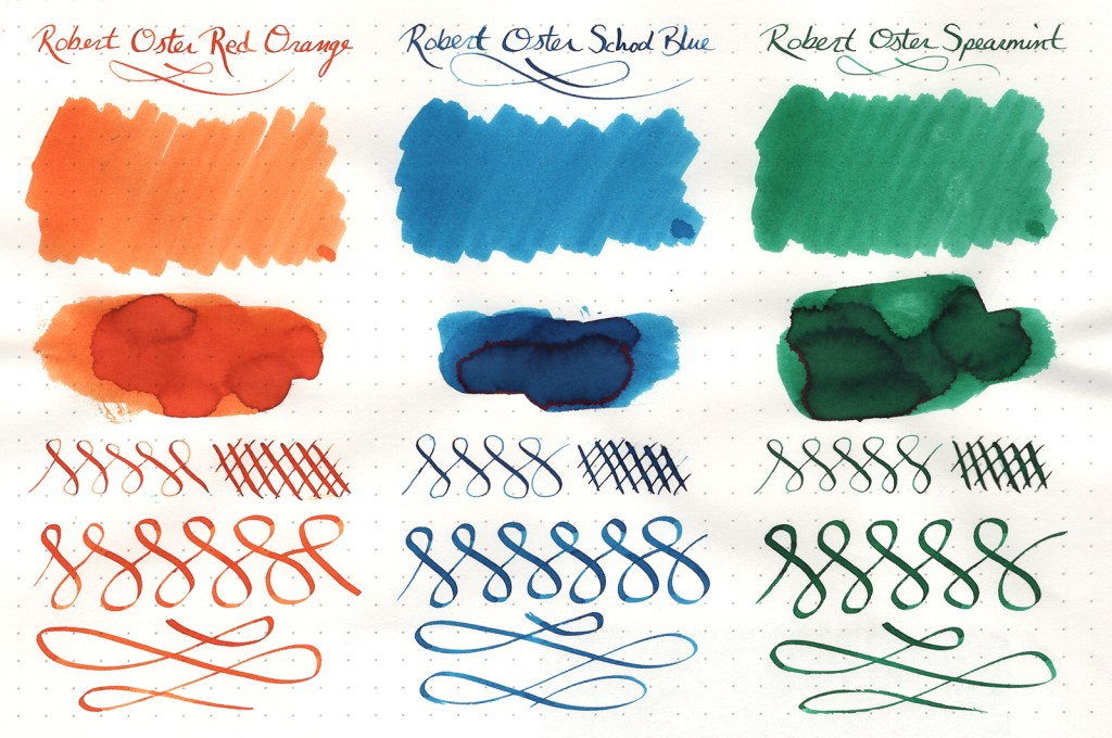 Ink samples, scanned, of three Robert Oster Signature Inks (Red Orange, School Blue, Spearmint)