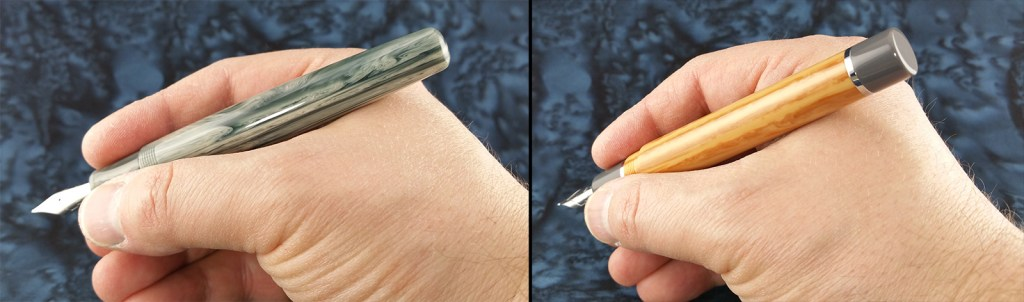 Holding both Think Couture Fountain Pens (Vacation and Violino); both are short enough to use unposted