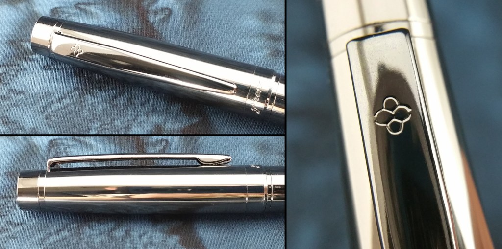 The Yiren 856 Fountain Pen Clip, from the top, from the side, and a close-up of the logo engraved in the surface