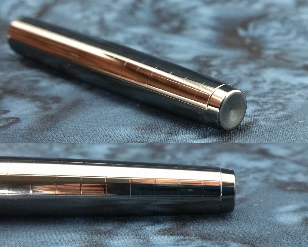 Two views of the Yiren 856 Fountain Pen End Cap, showing the convex surface and from the side
