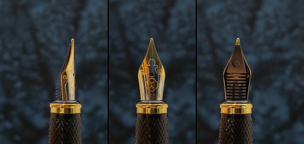 Three different views of the Yiren 856 Fountain Pen nib: side view, front view, rear/feed view