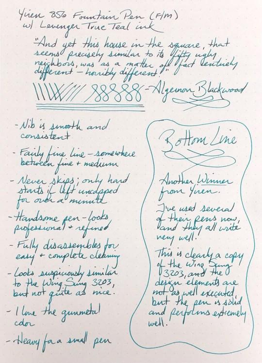Yiren 856 Fountain Pen Writing Sample, using Levenger True Teal ink on a Rhodia #16 DotPad