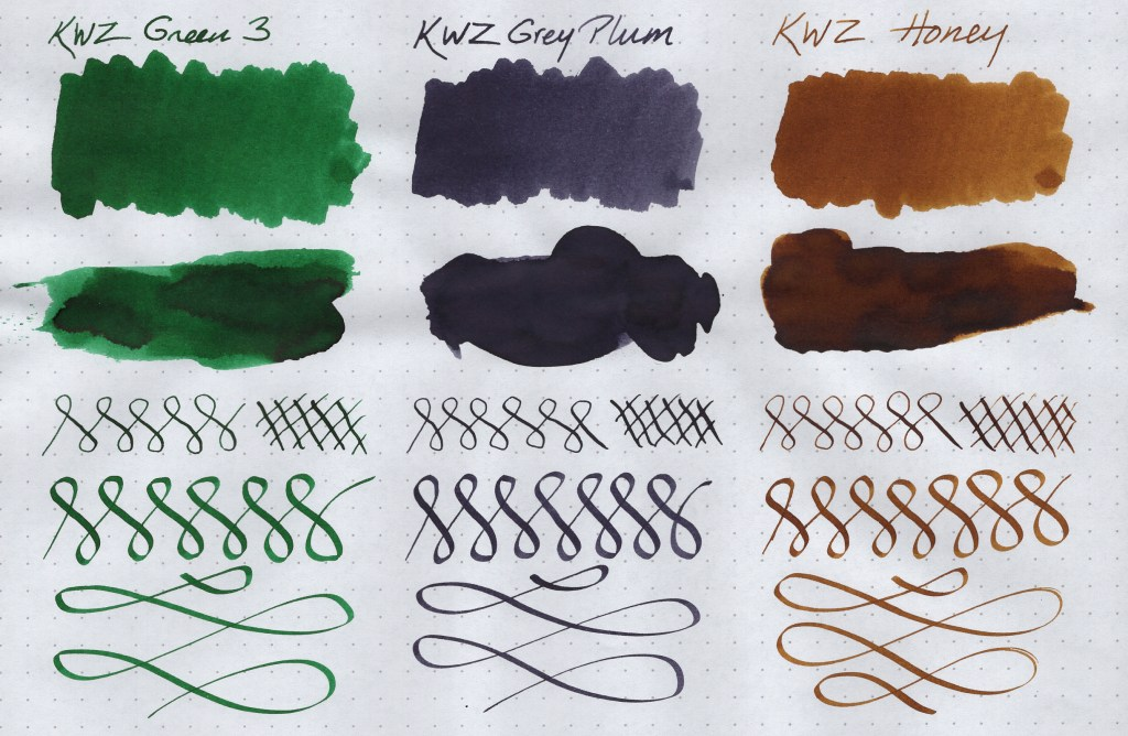 KWZ Ink Samples (Green #3, Grey Plum, Honey). Image is scanned. Samples are created on Rhodia Dot Grid paper using a Blue Pumpkin dip nib, a Speedball C-4 Calligraphy nib, cotton swabs, and a paint spatula.