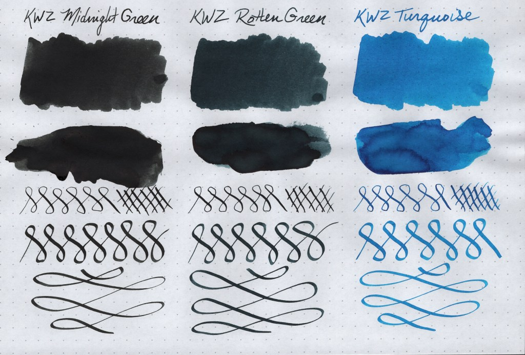 KWZ Ink Samples (Midnight Green, Rotten Green, Turquoise). Image is scanned. Samples are created on Rhodia Dot Grid paper using a Blue Pumpkin dip nib, a Speedball C-4 Calligraphy nib, cotton swabs, and a paint spatula.