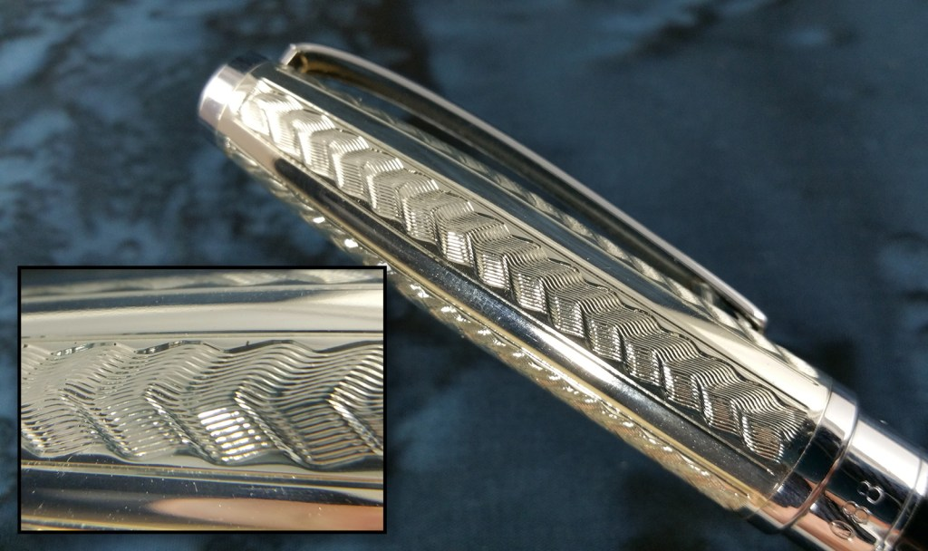 Close shot of the Yongsheng 088 Fountain Pen cap, showing a close view of the wave pattern