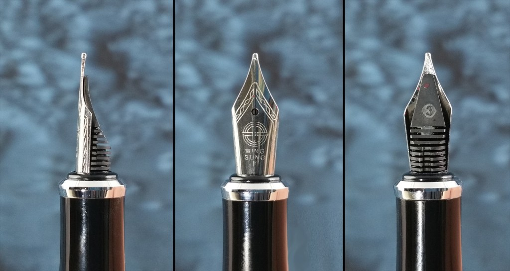 Three views of the (likely counterfeit) Wing Sung nib on the Yongsheng 088 Fountain Pen, showing it from the side, front, and back (with feed)