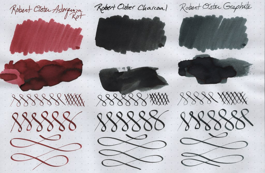 Robert Oster Signature Ink Samples (Astorquiza Rot, Charcoal, Graphite). Image is scanned. Samples are created on Rhodia Dot Grid paper using a Blue Pumpkin dip nib, a Speedball C-4 Calligraphy nib, cotton swabs, and a paint spatula.