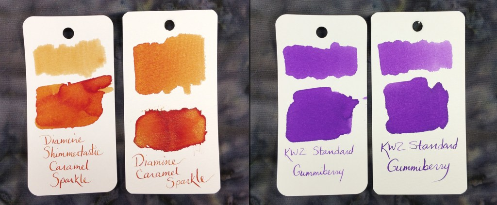 Col-o-ring vs. Maruman Swabs #2: With Diamine Shimmertastic Caramel Sparkle and KWZ Standard Gummiberry inks. In both sets, the Col-o-ring is on the left and the Maruman is on the right.