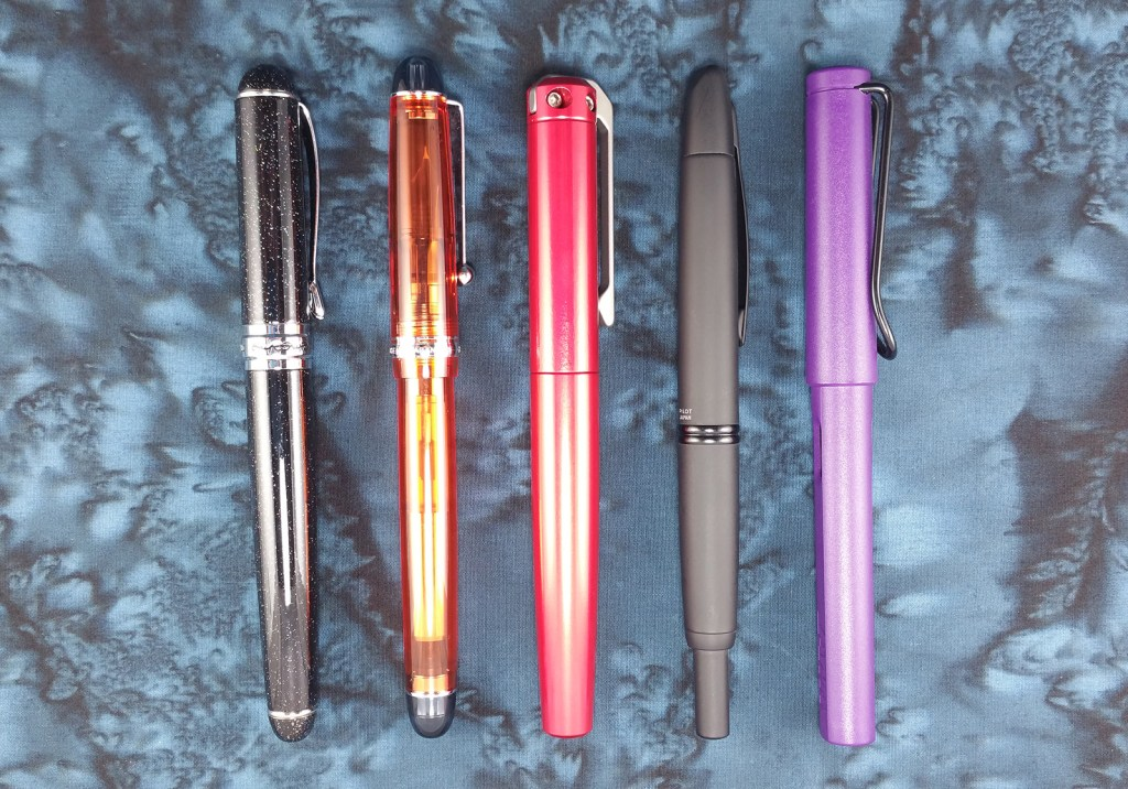 Comparison of the Karas Kustoms Ink Fountain Pen with several other popular models: Jinhao x750, Pilot Custom 74, Pilot Vanishing Point, and Lamy Safari