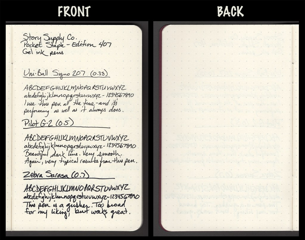 This image shows the front and back of a page in a Story Supply Co. Edition 407, showing writing samples and any effect on the back side of the page. Three gel pens: Uniball Signo 207 (0.38), Pilot G2 (0.5), and Zebra Sarasa (0.7)