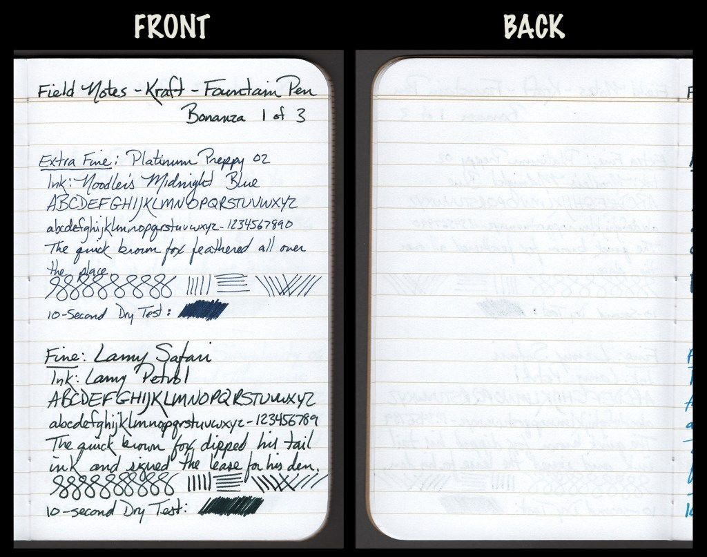 This image shows the front and back of a page in a Field Notes Kraft Notebook, showing writing samples and any effect on the back side of the page. Two fountain pens: EF Platinum Preppy with Noodler's Midnight Blue ink, and F Lamy Safari with Lamy Petrol ink