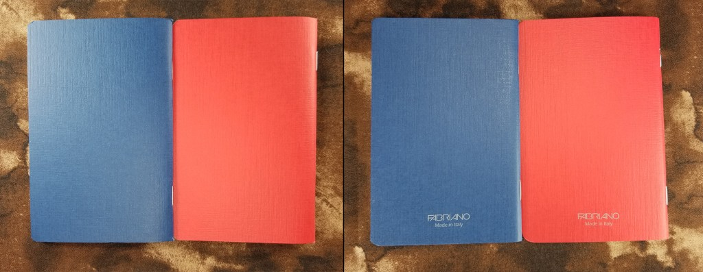Front and back covers of the blue and red Fabriano EcoQua pocket notebooks.