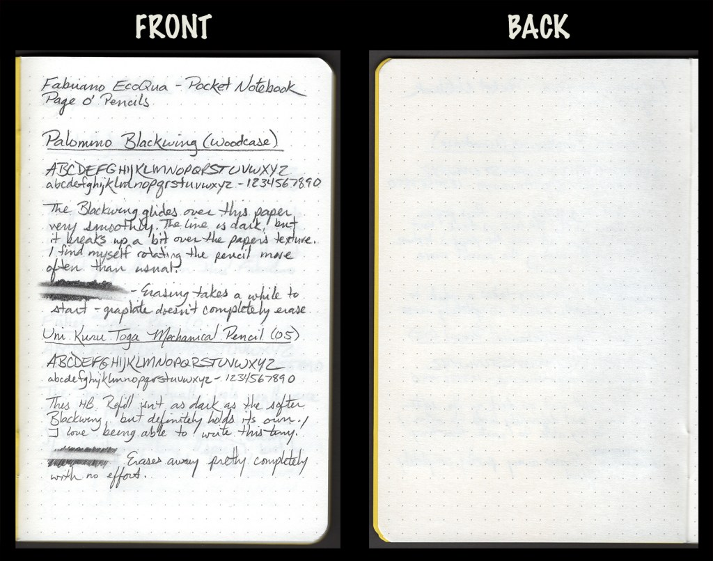 This image shows the front and back of a page in a Fabriano EcoQua pocket notebook, showing writing samples and any effect on the back side of the page. Two pencils: Palomino Blackwing woodcase pencil and Uni Kuru Toga mechanical pencil (0.5)