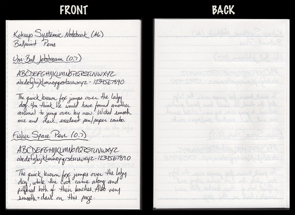 This image shows the front and back of a page in a Kokuyo Systemic A6 Notebook, showing writing samples and any effect on the back side of the page. Two ballpoint pens: Uniball Jetstream (0.7) and Fisher Space Pen (0.7)