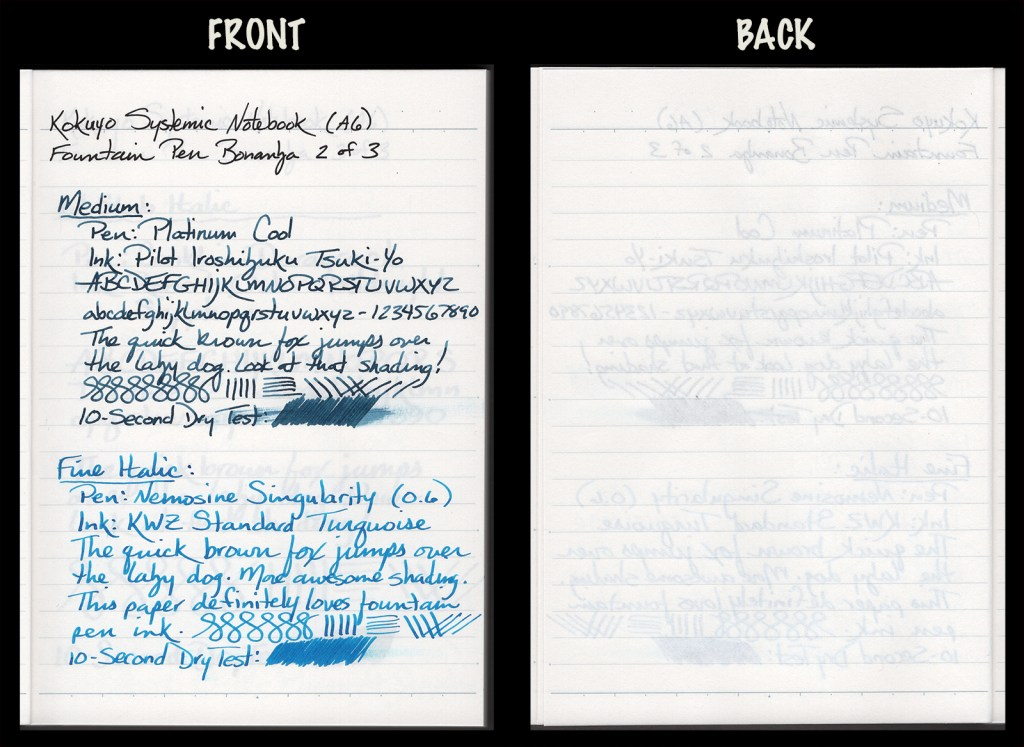 This image shows the front and back of a page in a Kokuyo Systemic A6 Notebook, showing writing samples and any effect on the back side of the page. Two fountain pens: M Platinum Cool with Pilot Iroshizuku Tsuki-Yo ink, and 0.6mm Nemosine Singularity with KWZ Standard Turquoise ink