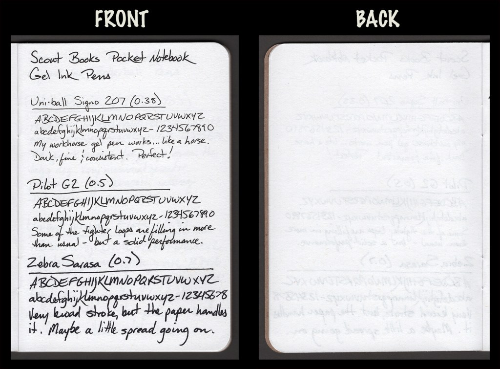 This image shows the front and back of a page in a Scout Books pocket notebook, showing writing samples and any effect on the back side of the page. Three gel pens: Uniball Signo 207 (0.38), Pilot G2 (0.5), and Zebra Sarasa (0.7)