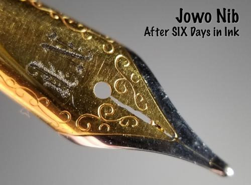 Top view of the Jowo nib after six days in the Aristotle Iron Gall ink. This view shows the damage to the steel around the nib's slit.