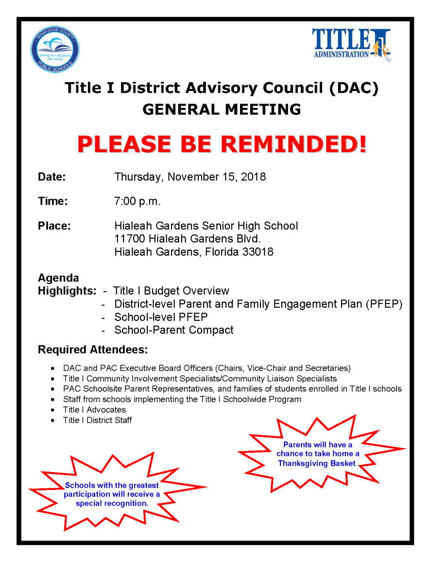 1st DAC General Meeting Flyer