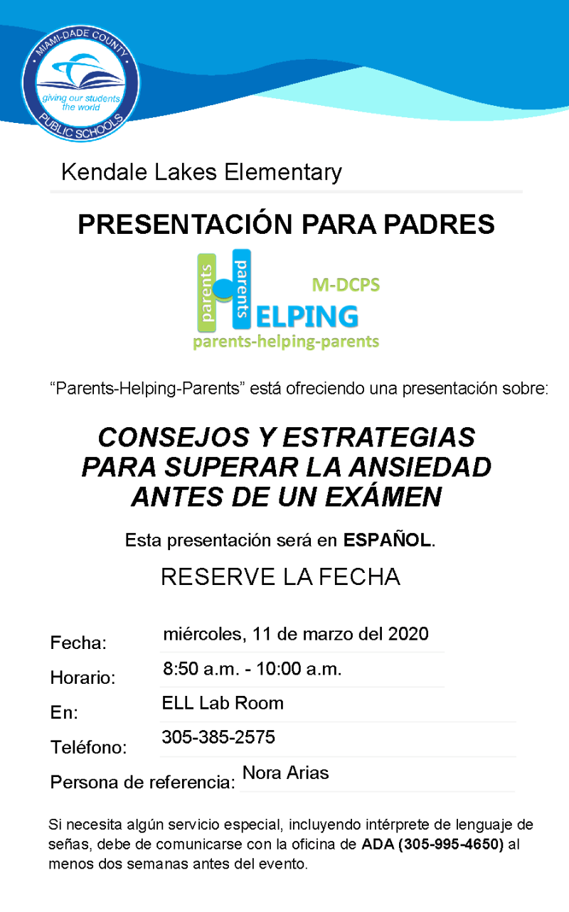 Test Anxiety Presentation - Save the Date (spanish)