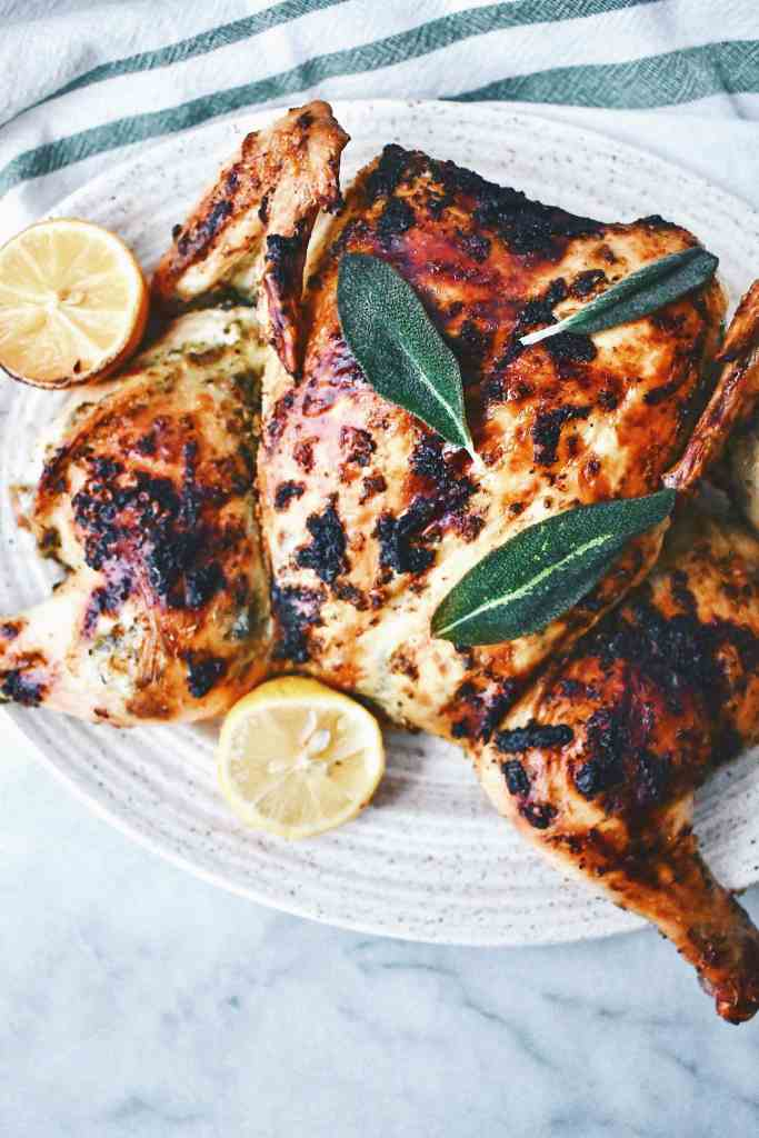 Spatchcock Chicken with Lemon and Sage
