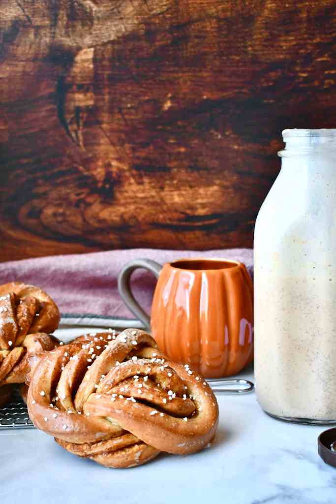 Pumpkin Spice Coffee Creamer with Pumpkin Spice Knotty Rolls