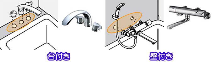 浴槽用バス水栓金具