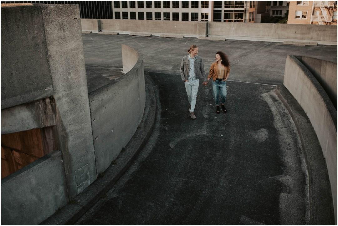 engaged, engagement-photography, engagement-photos, downtown-seattle, seattle-engagement- seattle-wedding-photographer, parking-garage, rooftop-photos, engagement-inspo, sunset-session,