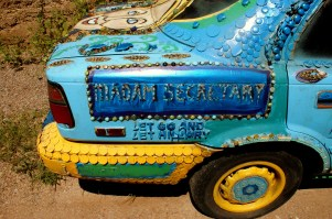 A vibrant car is decorated for the 2016 Presidential election in Bisbee Arizona. Photo/Kendra Yost