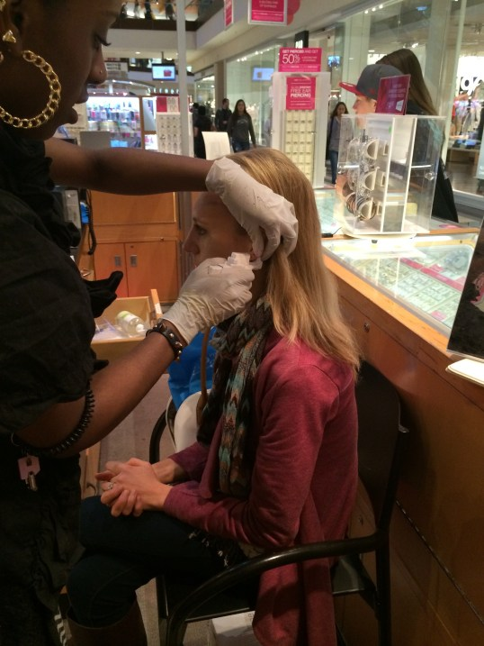 Getting my ears pierced - the first time!