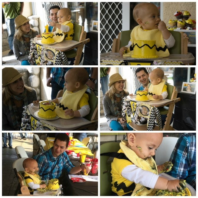 Peanuts First Birthday Party Cake Presentation