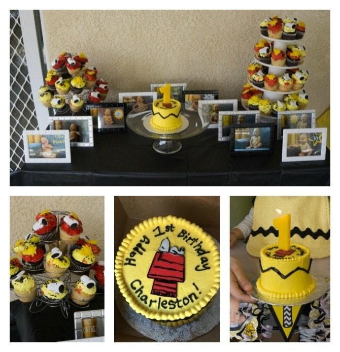 Peanuts First Birthday Party Dessert Table