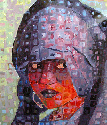 ©2001 Kendrea Rhodes all rights reserved - SAHARAN BRIDE - Acrylic on paper - www.kendreart.com