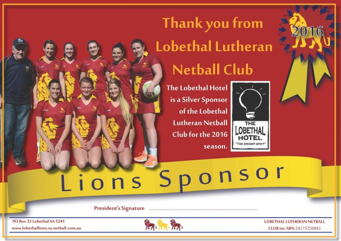 Lobethal Lutheran Lions Sponsorship Certificate created by Kendrea Rhodes