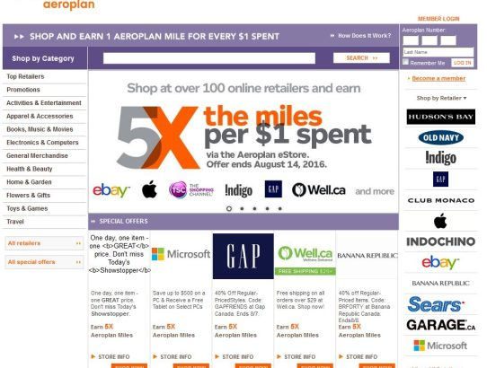 Earn 5X the Miles in an Aeroplan eStore Promo Ending August 14, 2016!
