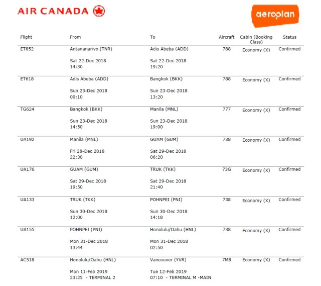 booking my first aeroplan mini-rtw