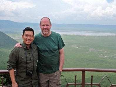 Derek and me on the lip of the Ngorongoro Crater