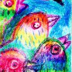 birds acrylic painting mixed media crayons jp nagar art class