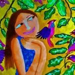 A girl admiring birds - acrylic painting by sanjana kalamandir art class