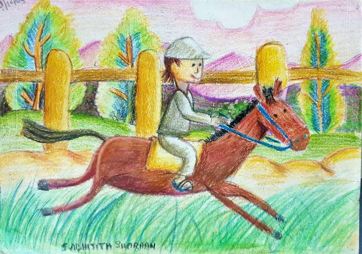 Horse riding - crayon pastel work kenfortes children online arts classes