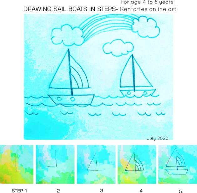 How to draw SAIL BOATS in steps -kenfortes kids art lessons
