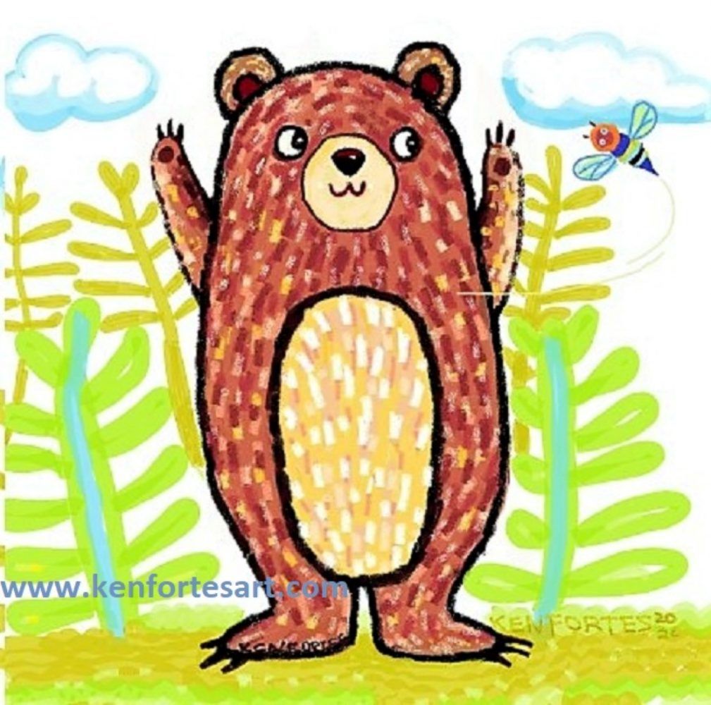 Grizzly brown bear FIGHTS A HONEY BEE- children Crayon sketch coloring- kenfortes art lessons- children online arts classes india (3)