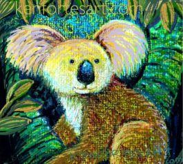 koala with oil pastel coloring - kenfortes online arts classes - advanced children art lesson