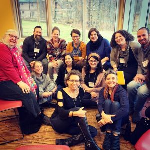 Participants in the Jewish Learning as a Spiritual Practice Track convened by Jane Shapiro and Rabbi Sarah Tasman for the Kenissa Cross-Training in December 2019 at Pearlstone Retreat Center.