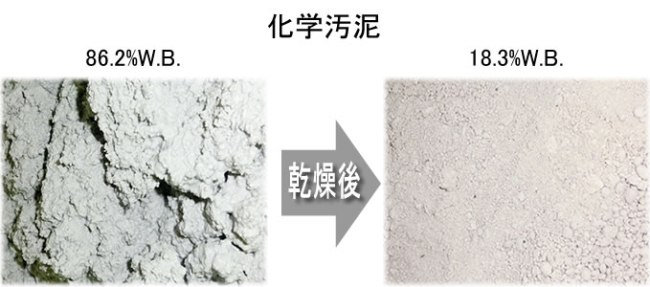 化学汚泥 乾燥前、乾燥後