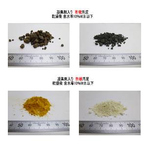有機汚泥 無機汚泥 乾燥後の比較 凝集剤 kenki dryer