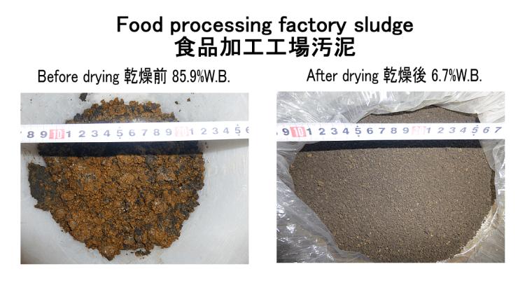食品加工汚泥 乾燥前後 kenki dryer 2018.1.5