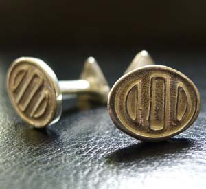 a pair of sterling silver Bounka cufflinks